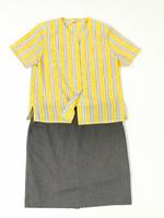 80-90-luvun harmaa-keltaraidallinen pusero, L-XL