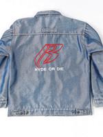 90-luvun Ryde or Die kiiltävä miesten farkkutakki, XXL