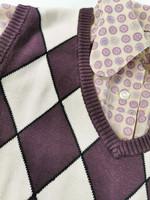 90-luvun argyle puuvillainen neuleliivi, M-L