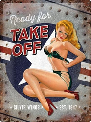 Metal Sign, Pin Up Ready for take off 30x40 cm (NEW)