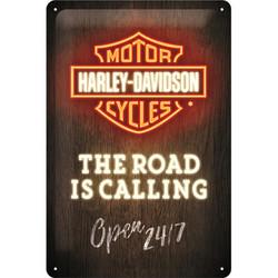 Seinäkyltti, Harley-Davidson - Road is Calling 20x30 cm (UUSI)