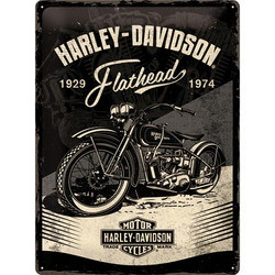 Seinäkyltti, Harley-Davidson - Flathead Black 30 x 40 cm (UUSI)