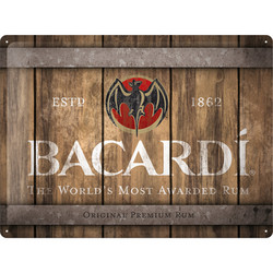 Seinäkyltti 30 x 40 cm Bacardi - Wood Barrel Logo (UUSI)