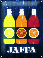 Seinäkyltti, Nostalgic art, 30cm x 40cm, JAFFA bottles (UUSI)