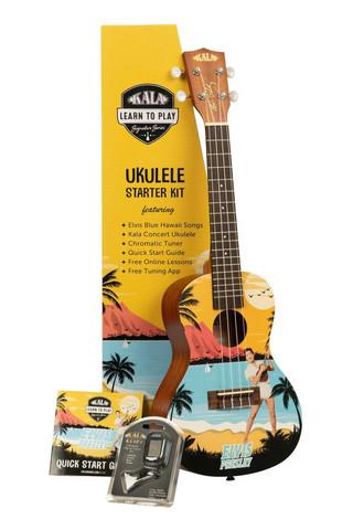 Kala Learn To Play Elvis Blue Hawaii Concert Ukulele (new)