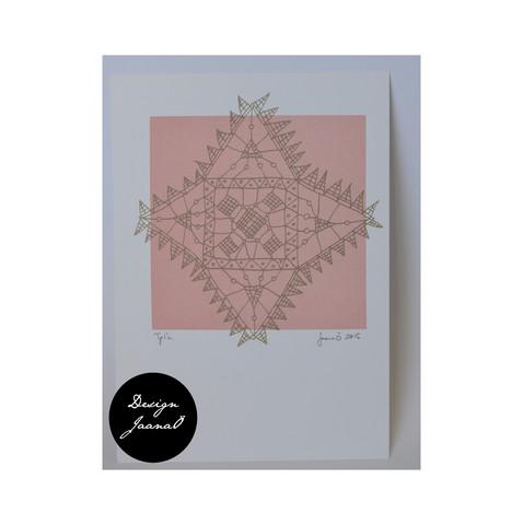 Nyplätty - kortti - vaalean punainen