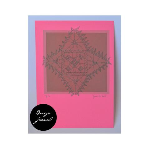 Nyplätty - kortti - pinkki2