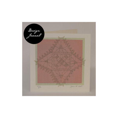 Nyplätty - taitettu kortti - harmaanpunainen