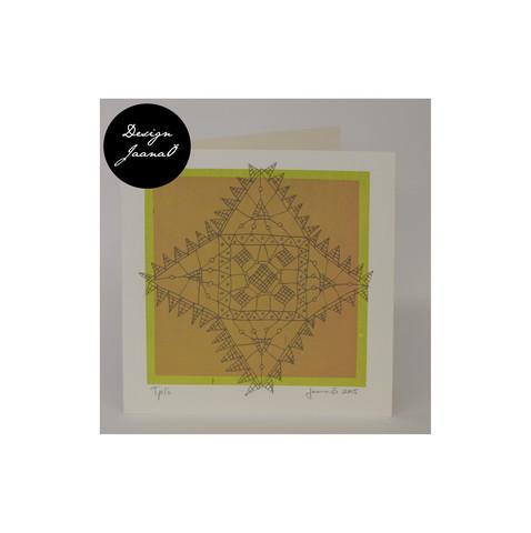 Nyplätty - taitettu kortti - vihreä&ruskea2