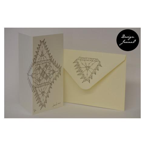 Nyplätty - taitettu kortti - luonnonvalkoinen