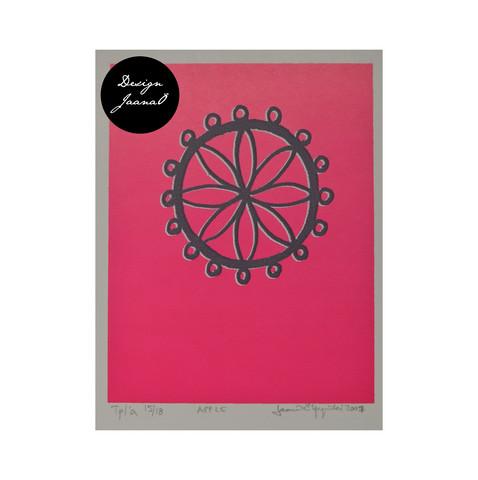 Apple - Taitettu kortti - pinkki2