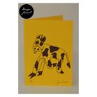Lehmä - taitettu kortti - keltainen