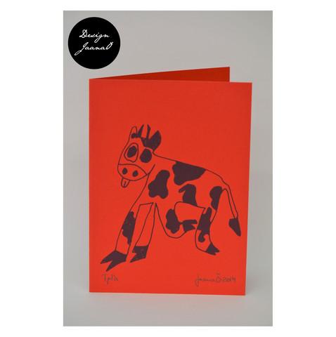 Lehmä - taitettu kortti - punainen