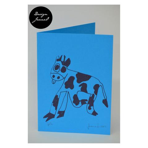 Lehmä - taitettu kortti - sininen