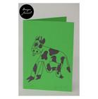Lehmä - taitettu kortti - tumman vihreä