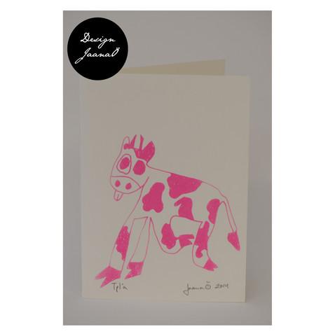 Lehmä - taitettu kortti - pinkki