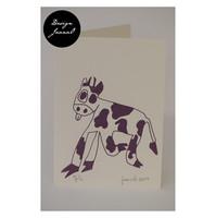 Lehmä - taitettu kortti - violetti