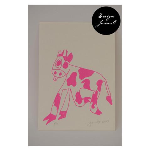 Lehmä - kortti - pinkki