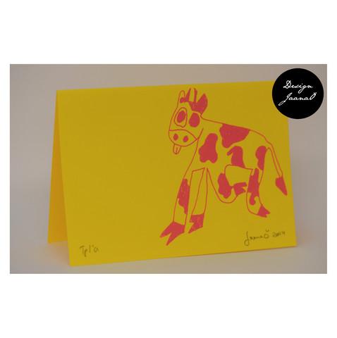 Lehmä - taitettu kortti - keltapinkki