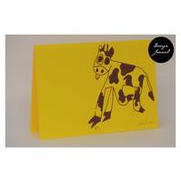 Lehmä - taitettu kortti - keltavioletti