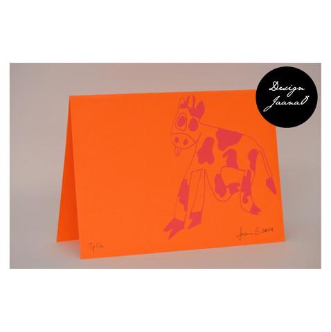 Lehmä - taitettu kortti - oranssipinkki