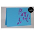 Lehmä - taitettu kortti - sinipinkki