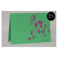Lehmä - taitettu kortti - vihreäpinkki