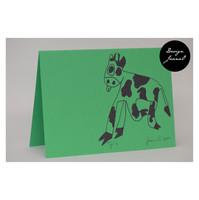 Lehmä - taitettu kortti - vihreävioletti
