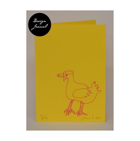 Kana - taitettu kortti - keltapinkki