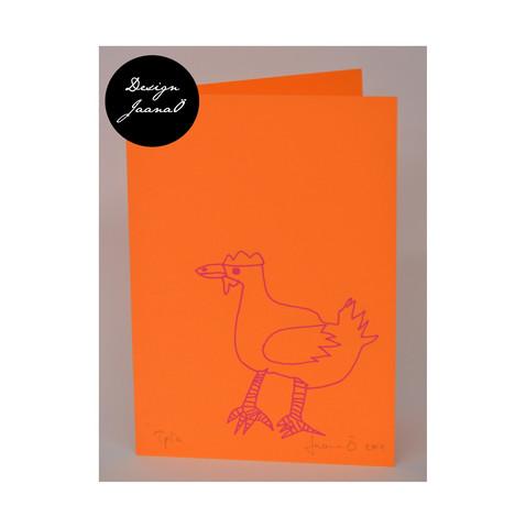 Kana - taitettu kortti - oranssipinkki