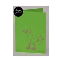 Kana - taitettu kortti - vihreäpinkki