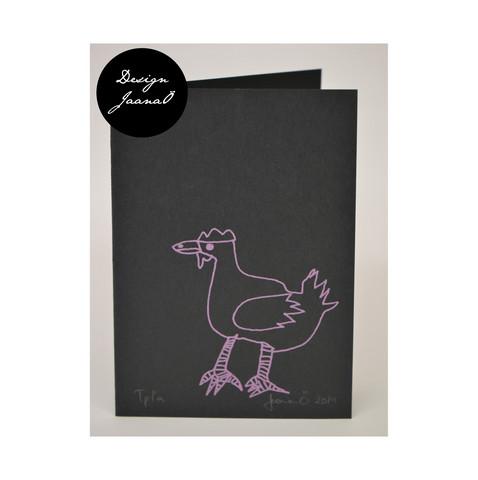 Kana - taitettu kortti - mustapinkki