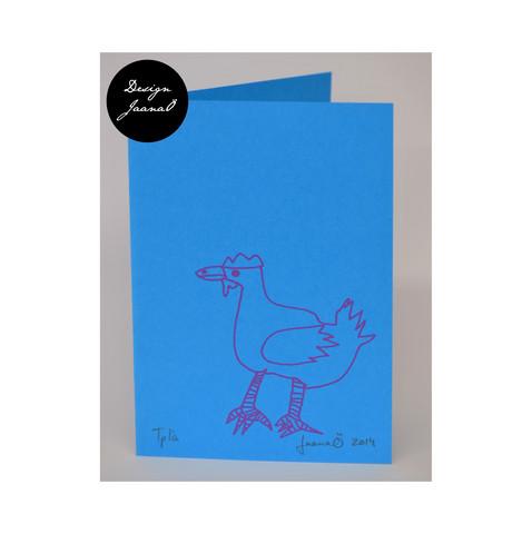Kana - taitettu kortti - sinipinkki