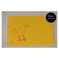 Kana - pakettikortti - keltapinkki