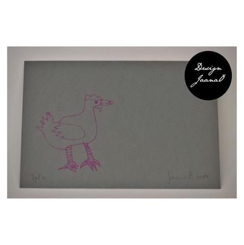 Kana - pakettikortti - tum.harmaapinkki