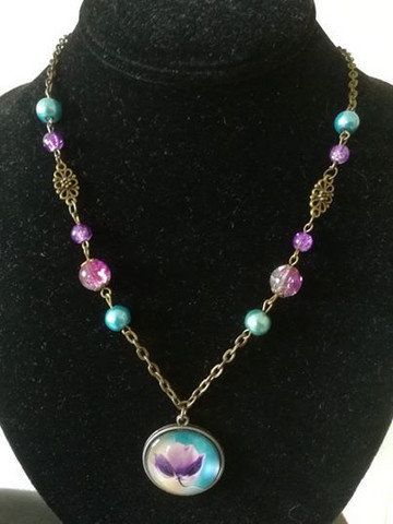 Flower Necklace with beads