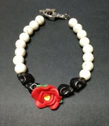 Bracelet rose and skull
