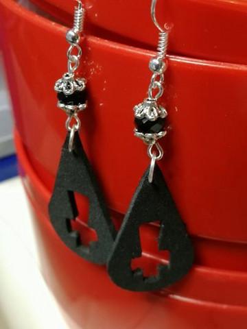 Black drop cross earrings