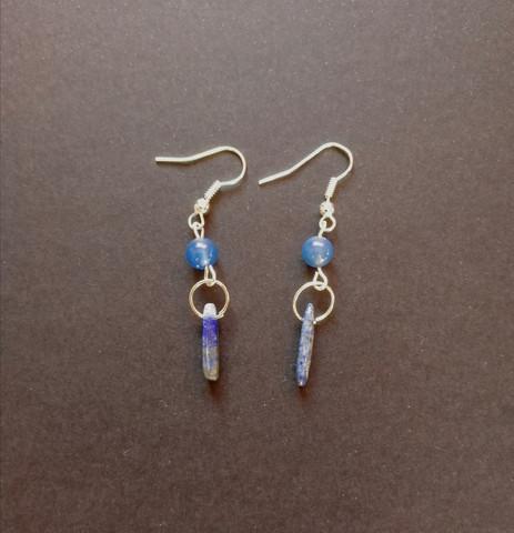Blue stone beads earrings