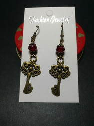 Key Earrings with red beads
