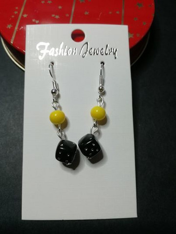 Black and yellow dice earrings