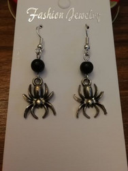 Spider earrings with black beads