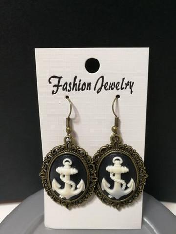 black anchor earrings