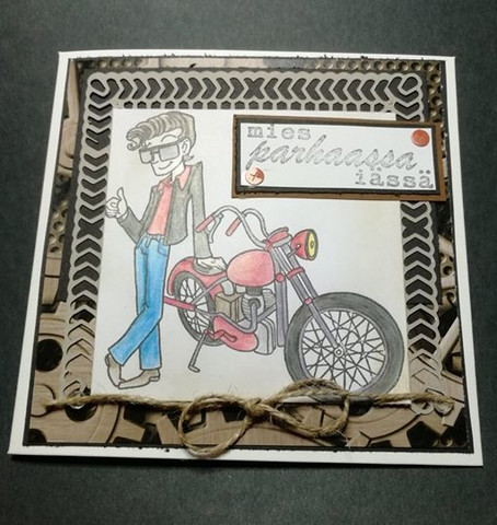 Handmade motorcycle man card