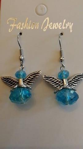 Light blue angel earrings