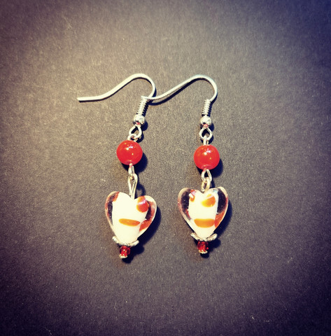 Red heart earrings with dots