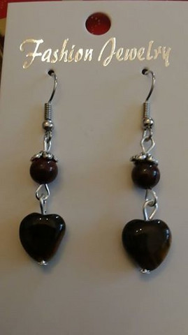 Brown heart stone beads earrings