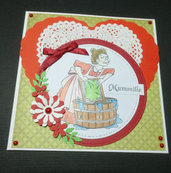 Handmade card grandmother laundry
