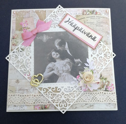 Handmade vintage wedding card