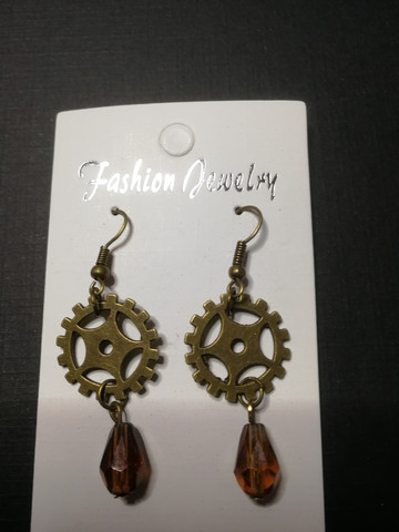 Gear Earrings with Brown Droplets